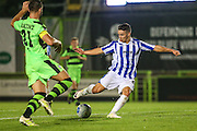 Cheltehham Town's Billy Walters shoots at goal during the Gloucestershire Senior Cup match between Forest Green Rovers and Cheltenham Town at the New Lawn, Forest Green, United Kingdom on 20 September 2016. Photo by Shane Healey.