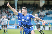 Scott Garner (Halifax) turns and celebrates scoring his side's second goal to give FC Halifax Town the lead in the first period of extra time and make it 2-1 to the home team during the Vanarama National League North Play Off final match between FC Halifax Town and Chorley at the Shay, Halifax, United Kingdom on 13 May 2017. Photo by Mark P Doherty.