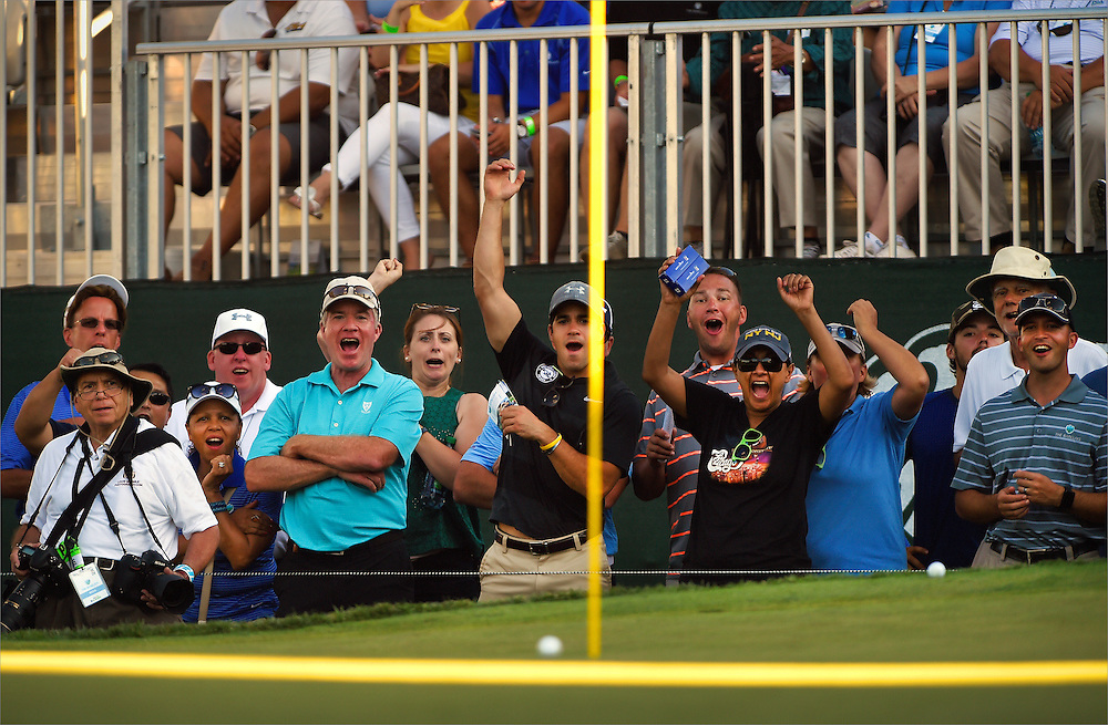 Spectators cheer for the shot of Hudson Swafford (not pictured) during the second round of The Barclays Championship held at Plainfield Country Club in Edison on August 28.