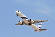 Israel, Ben-Gurion international Airport El-Al Boeing 757 passenger jet ready for takeoff