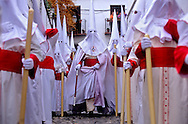 Holy Thursday procession in Calle San José Alta. Brotherhood of `Aurora´. Granada. Andalusia, Spain