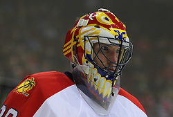 Feb 11; Newark, NJ, USA; Florida Panthers goalie Scott Clemmensen (30) during a break in the second period at the Prudential Center.