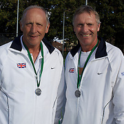 Keith Bland, Great Britain, (left) and Richard Tutt, Great Britain, runners up, 60 Mens doubles competition during the 2009 ITF Super-Seniors World Team and Individual Championships at Perth, Western Australia, between 2-15th November, 2009