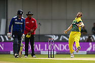 James Pattinson of Australia (right) in delivery stride during the 3rd One Day International match at Old Trafford Cricket Ground, Stretford<br /> Picture by Andy Kearns/Focus Images Ltd 0781 864 4264<br /> 08/09/2015