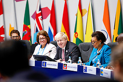 April 18, 2018 - London, England, United Kingdom - Foreign Minister of Commonwealth countries meet at the round table during Commonwealth Heads of Government Meeting in Lancaster House in London, United Kingdom, on April 18, 2018. UK Minister Boris Johnson is hosting the meeting. (Credit Image: © Dominika Zarzycka/NurPhoto via ZUMA Press)