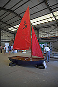 One of the first Mirror sailing boats, Maritime event, Woodbridge, Suffolk, England