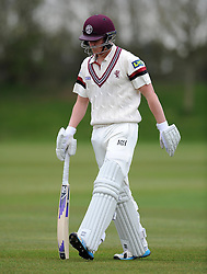 Durham MCCU's Jack Wood celebrates the wicket of Somerset's Tom Abell for 0- Photo mandatory by-line: Harry Trump/JMP - Mobile: 07966 386802 - 02/04/15 - SPORT - CRICKET - Pre Season Fixture - Day One - Somerset v Durham MCCU - Taunton Vale Cricket Ground, Somerset, England.