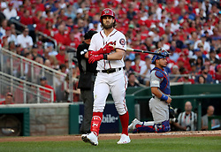 October 7, 2017 - Washington, DC, USA - The Washington Nationals' Bryce Harper strikes out in the first inning against the Chicago Cubs in Game 2 of the National League Division Series at Nationals Park in Washington, D.C., on Saturday, Oct. 7, 2017. (Credit Image: © Brian Cassella/TNS via ZUMA Wire)