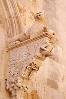 Croatie, Dalmatie, côte dalmate, île de Korcula, ville de Korcula, détail du portail central de la cathédrale Saint Marc // Croatia, Dalmatia, Korcula island, Korcula city, Saint Marc cathedral