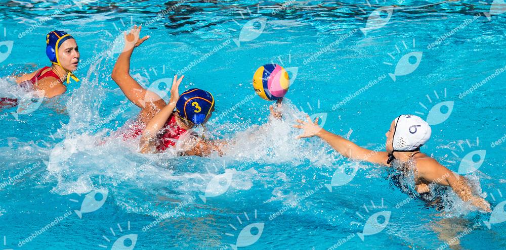 3  ESPAR LLAQUET Anna ESP, 6   STEFFENS Margaret USA <br /> USA (white cap) -  ESP (blue cap)<br /> Preliminary Round Water Polo Women<br /> Day05  18/07/2017 <br /> XVII FINA World Championships Aquatics<br /> Alfred Hajos Complex Margaret Island  <br /> Budapest Hungary <br /> Photo @ Deepbluemedia/Insidefoto