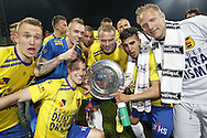Onderwerp/Subject: Cambuur Leeuwarden - Jupiler League<br /> Reklame:  <br /> Club/Team/Country: <br /> Seizoen/Season: 2012/2013<br /> FOTO/PHOTO: F.L.T.R: Mark DIEMERS of Cambuur Leeuwarden and Tim KEURNTJES of Cambuur Leeuwarden and Wout DROSTE of Cambuur Leeuwarden and Oebele SCHOKKER of Cambuur Leeuwarden and Michiel HEMMEN of Cambuur Leeuwarden and Mohamed EL MAKRINI of Cambuur Leeuwarden and Goalkeeper Dennis TELGENKAMP of Cambuur Leeuwarden celebrating Jupiler League Championship and promotion to Eredivisie with the Trophy. (Photo by PICS UNITED)<br /> <br /> Trefwoorden/Keywords: <br /> #02 #18 $94 &plusmn;1367598354739<br /> Photo- &amp; Copyrights &copy; PICS UNITED <br /> P.O. Box 7164 - 5605 BE  EINDHOVEN (THE NETHERLANDS) <br /> Phone +31 (0)40 296 28 00 <br /> Fax +31 (0) 40 248 47 43 <br /> http://www.pics-united.com <br /> e-mail : sales@pics-united.com (If you would like to raise any issues regarding any aspects of products / service of PICS UNITED) or <br /> e-mail : sales@pics-united.com   <br /> <br /> ATTENTIE: <br /> Publicatie ook bij aanbieding door derden is slechts toegestaan na verkregen toestemming van Pics United. <br /> VOLLEDIGE NAAMSVERMELDING IS VERPLICHT! (&copy; PICS UNITED/Naam Fotograaf, zie veld 4 van de bestandsinfo 'credits') <br /> ATTENTION:  <br /> &copy; Pics United. Reproduction/publication of this photo by any parties is only permitted after authorisation is sought and obtained from  PICS UNITED- THE NETHERLANDS