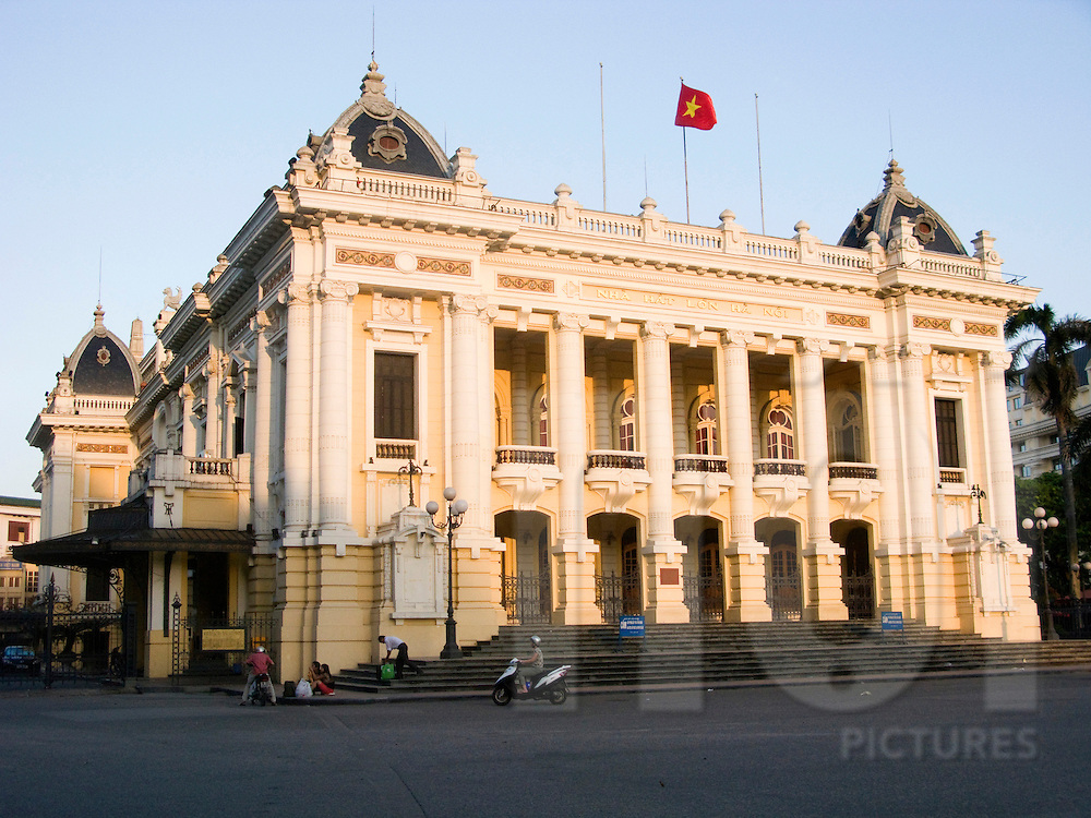 Opera of Hanoi by the end of the day when the sun hits the french style colonial front building. Vietnam, Asia