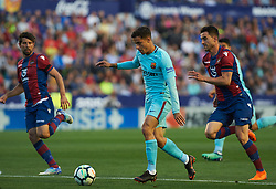May 13, 2018 - Valencia, Valencia, Spain - Sergio Postigo of Levante UD and Philippe Coutinho of FC Barcelona during the La Liga match between Levante and FC Barcelona, at Ciutat de Valencia Stadium, on may 13, 2018  (Credit Image: © Maria Jose Segovia/NurPhoto via ZUMA Press)