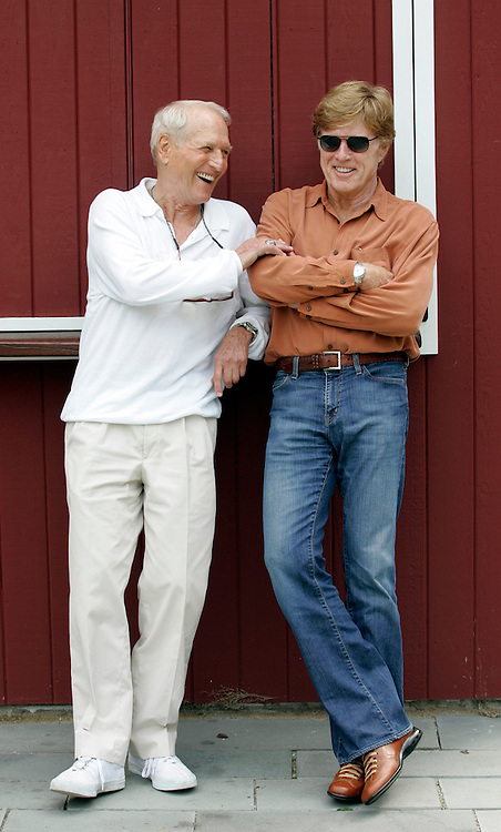 Robert Redford and Paul Newman pictured together at the Westport Country Playhouse during a taping of Iconoclasts for the Sundance Channel, Monday, August 29, 2005, Westport, CT. (Stuart Ramson for Sundance Channel)