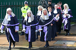 © Licensed to London News Pictures. 01/10/2019. London, UK. Circuit Judges leave Westminster Abbey for The Houses of Parliament after attending the annual service to mark the start of the legal year. The start of the new legal year is marked with a traditional religious service in Westminster Abbey followed by a procession to The Houses of Parliament where the Lord Chancellor (Justice Secretary) hosts a reception.   Photo credit: Dinendra Haria/LNP