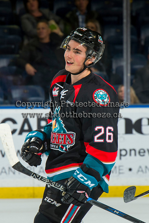 KELOWNA, CANADA - OCTOBER 5: Liam Kindree #26 of the Kelowna Rockets is all smiles after a scoring a goal against the Victoria Royals  on October 5, 2018 at Prospera Place in Kelowna, British Columbia, Canada.  (Photo by Marissa Baecker/Shoot the Breeze)  *** Local Caption ***