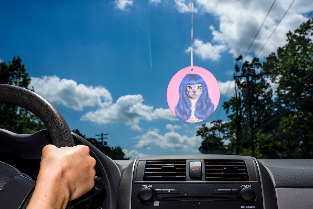 Mays Landing, New Jersey - June 21, 2015: Claire's Pretty Kitty Air Freshener flapping in the Air Conditioner. <br /> CREDIT: Matt Roth