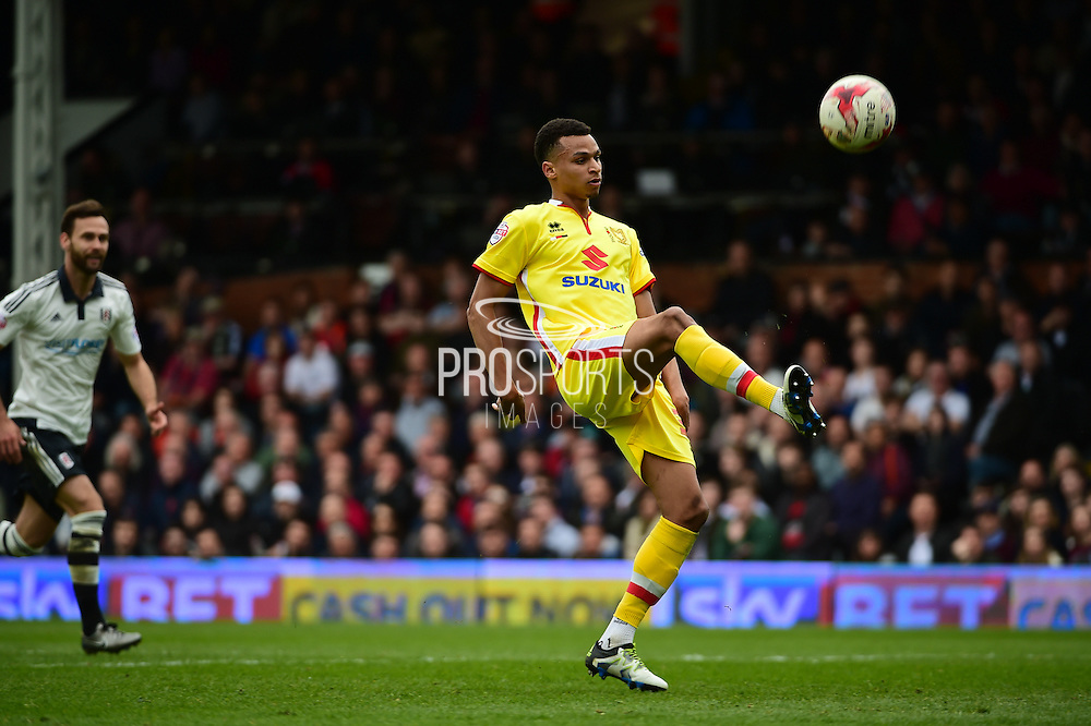 MK Dons forward Josh Murphy chips to score during the Sky Bet Championship match between Fulham and Milton Keynes Dons at Craven Cottage, London, England on 2 April 2016. Photo by Jon Bromley.