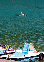 THEMENBILD - eine Frau sitzt auf einem Standup Paddle Brett, aufgenommen am 22. Mai 2017, Kalterer See, Kaltern, Italien // a Women sits on a Stand Up Paddle at the Lake Caldaro, Kaltern, Italy on 2017/05/22. EXPA Pictures © 2017, PhotoCredit: EXPA/ JFK