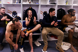 Jono Lance, Michael Heaney, Ethan Waller and Michael Fatialofa of Worcester Warriors celebrate victory over London Irish - Mandatory by-line: Robbie Stephenson/JMP - 28/12/2019 - RUGBY - Sixways Stadium - Worcester, England - Worcester Warriors v London Irish - Gallagher Premiership Rugby
