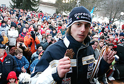 Rok Benkovic of Slovenia, World Ski Jumping Champion 2005 in Oberstdorf at reception in Menges after he came from Oberstdorf, on February 28, 2005 in Menges, Slovenia. (Photo By Vid Ponikvar / Sportida.com)