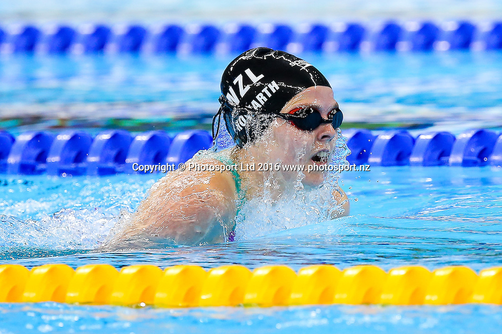 Picture by Rogan Thomson/SWpix.com - 14/09/2016 - 2016 Rio Paralympic Games - Swimming - Olympic Aquatics Centre, Rio de Janeiro, Brazil - Nikita Howarth of New Zealand competes in the Women's 100m Breaststroke SB8 Heat