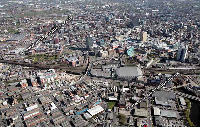 aerial photograph of  Manchester Arena & Victoria Station