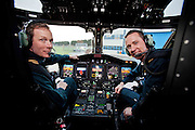 Coast Guard Pilots Robert Goodbody and Jim O'Neill in the new Coast Guard Sikorsky S-92 helicopter which arrived at Shannon airport today. Photograph by Eamon Ward (Pat Flynn has sent story)