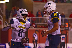 NORMAL, IL - September 21: Stacy Chukwumezie and Case Cookus celebrate a touchdown during a college football game between the ISU (Illinois State University) Redbirds and the Northern Arizona University (NAU) Lumberjacks on September 21 2019 at Hancock Stadium in Normal, IL. (Photo by Alan Look)