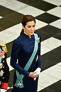 03.01.12. Copenhagen, Denmark.Crowprincess Mary receiving the chiefs of the diplomatic corps in the Rider's Hall during the New Year's Court in Christiansborg Palace.Photo:© Ricardo Ramirez