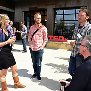 Attendees gather outside at TEDx Piscataqua, May 6, 2015 at 3S Artspace in Portsmouth NH