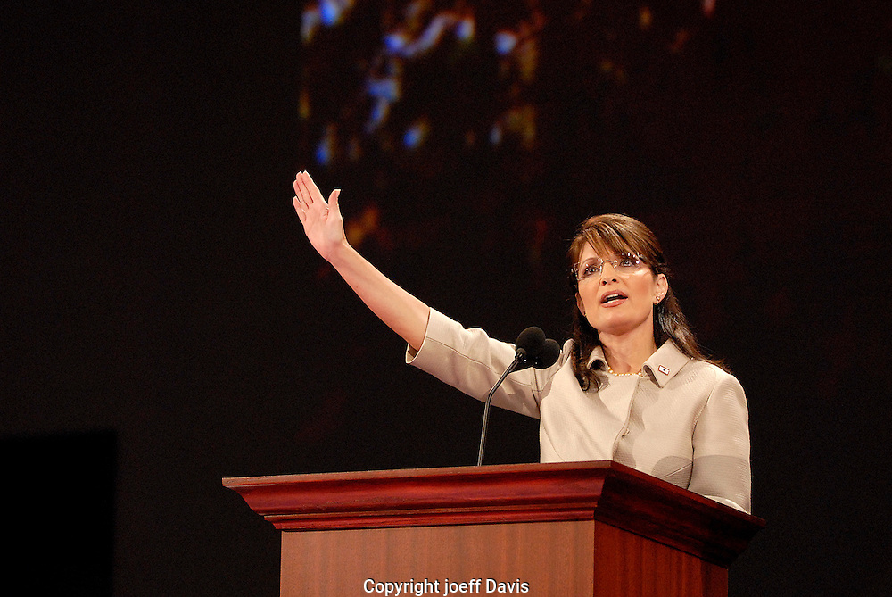 ST. PAUL, MN - September 3, 2008: Alaska Governor and repiublican Vice President nominee Sarah Palin, waves to the crowd during her highly anticipated speech at the 2008 Republican National Convention at the Excel Center in St. Paul, Minnesota.