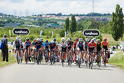 The bunch spread across the road at Stage 2 of 2019 OVO Women's Tour, a 62.5 km road race starting and finishing in the Kent Cyclopark in Gravesend, United Kingdom on June 11, 2019. Photo by Sean Robinson/velofocus.com