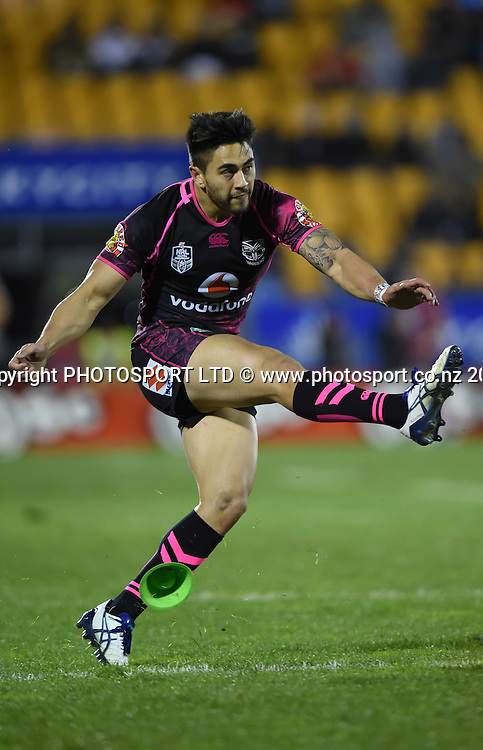 Shaun Johnson. Vodafone Warriors v Penrith Panthers. NRL Rugby League. Mt Smart Stadium, Auckland, New Zealand. Sunday 29 June 2014. Photo: Andrew Cornaga/www.Photosport.co.nz