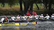 Cambridge, USA, Lightweight men's Eights, LM8+, Boston Side, New York Athletic Club.  moving through the field as the they approach the Cambridge BC and Elliott Bridge, during the  2009 Head of the Charles  Sunday  18/10/2009  [Mandatory Credit Peter Spurrier Intersport Images],.
