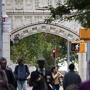 October 4, 2016 - New York, N.Y. : People walk along Convent Ave., north of the West 140th Street entrance to the <br /> City College of New York, on Tuesday afternoon, October 4. <br /> CREDIT: Karsten Moran for The New York Times