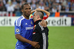 19.05.2012, Allianz Arena, Muenchen, GER, UEFA CL, Finale, FC Bayern Muenchen (GER) vs FC Chelsea (ENG), im Bild  Chelsea's Ivory Coast forward Didier Drogba consoles Bayern's French midfielder Franck Ribery after Chelsea win  during the Final Match of the UEFA Championsleague between FC Bayern Munich (GER) vs Chelsea FC (ENG) at the Allianz Arena, Munich, Germany on 2012/05/19. . EXPA Pictures © 2012, PhotoCredit: EXPA/ Mitchel Gunn