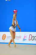 Shang Rong during qualifying ball at the Pesaro World Cup 01 April 2016.  Rong is a gymnast from the Chinese Republic born in Liaoning in 2000. She debuted in the senior category in the 2015 season.