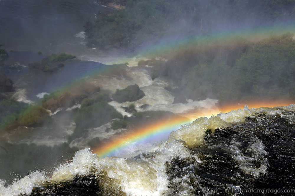 South America, Argentina, Iguacu Falls. Double Rainbow at Iguacu Falls.