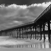 Glowing Cloud Sunset - San Simeon Pier, CA -  Black & White