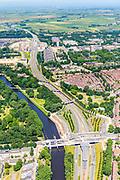 Nederland, Noord-Holland, Amsterdam-Noord, 29-06-2018; Tuindorp Buiksloot, verkeersplein/viaduct het Meeuwenei en Station Noorderpark van de Noord/Zuidlijn. Gezien langs de Nieuwe Leeuwarderweg en naar landelijk Noord en Station Noord, eindpunt.<br /> North Park Station w environment, new subway /underground. <br /> luchtfoto (toeslag op standard tarieven);<br /> aerial photo (additional fee required);<br /> copyright foto/photo Siebe Swart