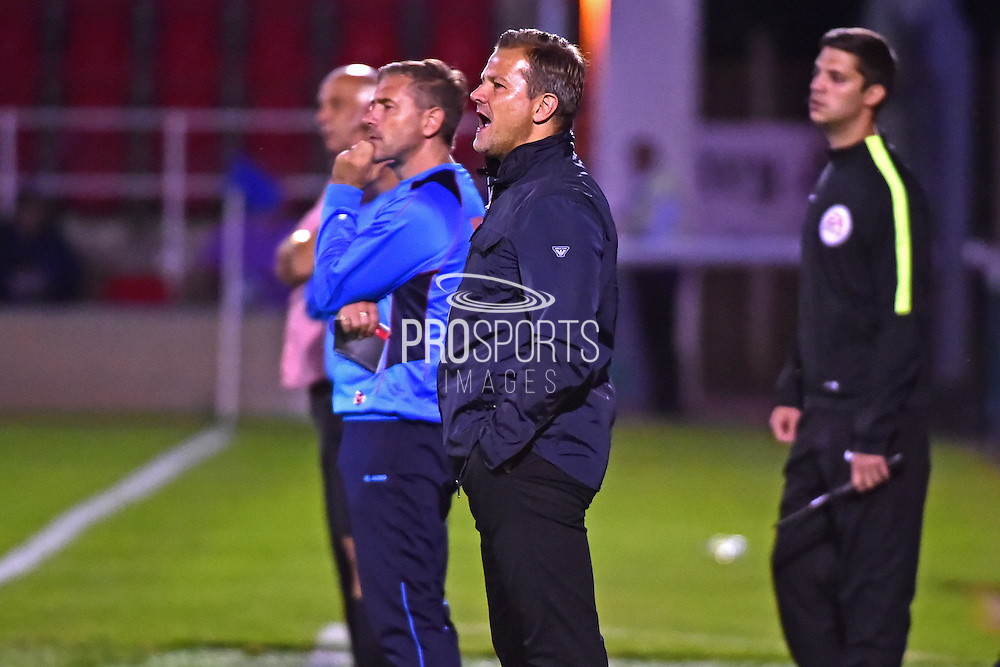 Forest Green Manager Mark Cooper during the Vanarama National League match between Woking and Forest Green Rovers at the Kingfield Stadium, Woking, United Kingdom on 16 August 2016. Photo by Jon Bromley.
