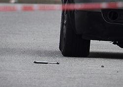 © Licensed to London News Pictures. 26/09/2016. London, UK. A possible weapon is seen in the road as forensics officers attend the scene where a man was fatally stabbed. Police were called to to a disturbance in Braintree Road on Sunday evening 25th September 2016 where officers found a man in his thirties suffering from stab wounds. He died at the scene a short while later. A murder investigation has been launched. Photo credit: Peter Macdiarmid/LNP