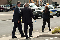 White House Secret Service agents patrol the secure area.