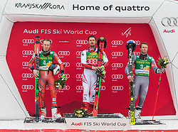 Second placed Henrik Kristoffersen of Norway, Winner Marcel Hirscher of Austria and Third placed Alexis Pinturault of France during flower ceremony after Men's GiantSlalom race of FIS Alpine Ski World Cup 57th Vitranc Cup 2018, on March 3, 2018 in Kranjska Gora, Slovenia. Photo by Urban Meglič / Sportida