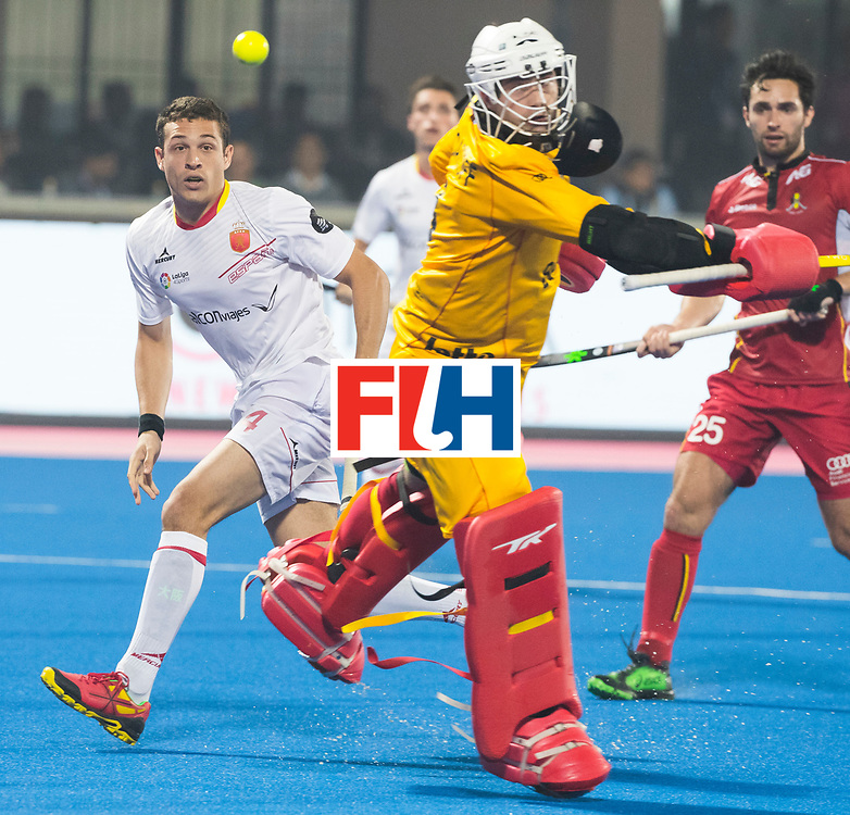 BHUBANESWAR - The Odisha Men's Hockey World League Final . Match ID 07,   Belgium v Spain. Ricardo Sanchez (Esp)  with keeper Jeremy Gucassoff (Bel)  WORLDSPORTPICS COPYRIGHT  KOEN SUYK