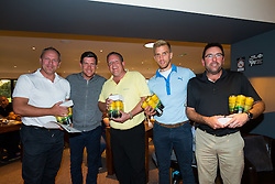 Will Puddy joins team MB Frames as Bristol Rovers Manager Darrell Clarke presents their 2nd place prize after the annual Bristol Rovers Golf Day - Rogan Thomson/JMP - 10/10/2016 - GOLF - Farrington Park - Bristol, England - Bristol Rovers Golf Day.