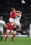 Twickenham, Great Britain,    Right San BURGESS and Alun WYN JONES contest the high ball, during the Pool A Game, England vs Wales.  2015 Rugby World Cup, Venue, The RFU Stadium, Twickenham, Surrey, ENGLAND. Saturday   26/09/2015  [Mandatory Credit; Peter Spurrier/Intersport-images]