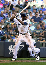June 13, 2018 - Milwaukee, WI, U.S. - MILWAUKEE, WI - JUNE 13: Milwaukee Brewers Center field Lorenzo Cain (6) at the plate during a MLB game between the Milwaukee Brewers and Chicago Cubs on June 13, 2018 at Miller Park in Milwaukee, WI. The Brewers defeated the Cubs 1-0.(Photo by Nick Wosika/Icon Sportswire) (Credit Image: © Nick Wosika/Icon SMI via ZUMA Press)
