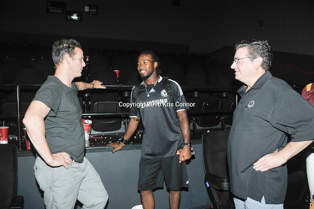 RICHMOND, VA - AUG 13: Director Peter Berg, Washington Redskin player Josh Norman, and Redskins Owner Dan Snyder attend a special screening for the Washington Redskins football team of Lions gate Entertainment's new movie Deepwater Horizon at Bow Tie Cinema on August 13, 2016 in Richmond, Va. (Photo by Kris Connor for Lions Gate Entertainment)